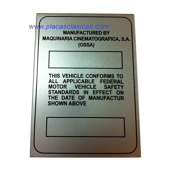 Placa fabricante OSSA Image
